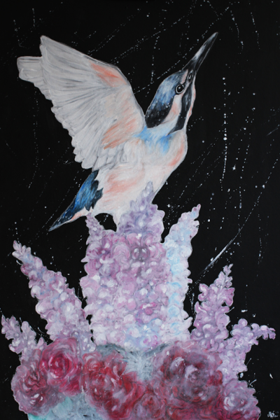 KUNINKAIDEN KYYNELEET OVAT SOKERISTA Acrylic & watercolor crayon on board 70 x 100 cm 2015 SOLD