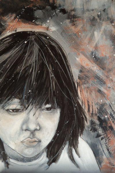 ÄLYLLINEN UTELIAISUUS Acrylic & watercolor crayon on board 70 x 100 cm 2015